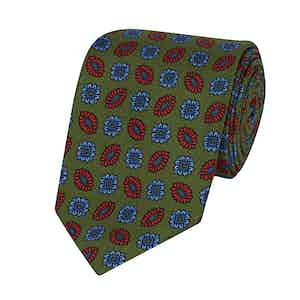 Green, Blue and Orange Silk Printed Tie