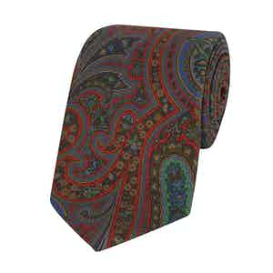 Orange and Multicolour Silk Paisley Printed Tie