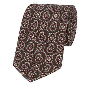 Green and Burgundy Silk Paisley and Floret Printed Tie