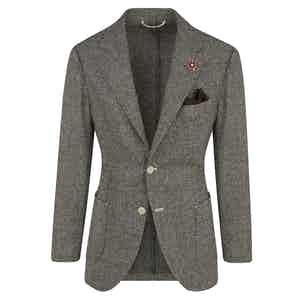 Brown Wool Micro-Houndstooth Sports Jacket