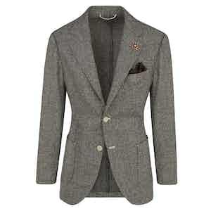 Brown Wool Micro-Houndstooth Sports Jacket