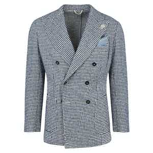 Blue Wool Double-Breasted Houndstooth Jacket