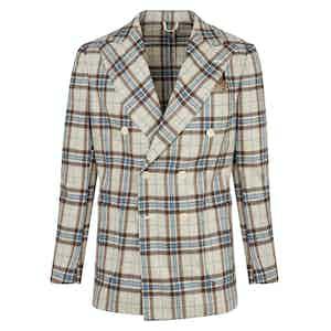 Beige Wool Flannel Double-Breasted Jacket