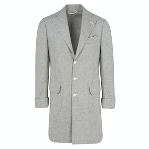 Grey Wool Flannel Single-Breasted Coat with Back Belt