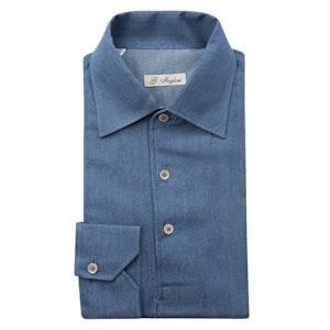 Denim Blue Cotton Long Sleeve Polo Shirt