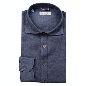 Blue Linen Long Sleeve Polo Shirt