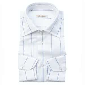 Blue and White Cotton Five-Lines Shirt