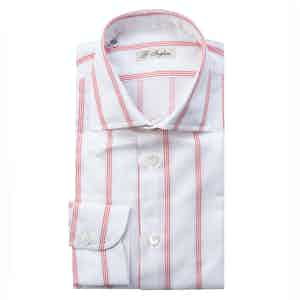 Red and White Cotton Five-Lines Shirt