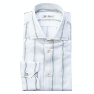 Green and White Cotton Five-Lines Shirt