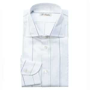 Blue, Green and White Cotton Five-Lines Shirt