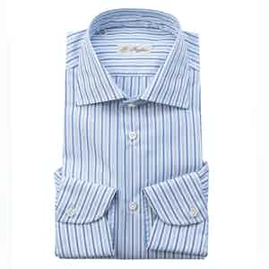 Blue and Celeste Cotton Striped Shirt
