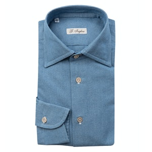 Denim Blue Cotton Shirt with White Buttons