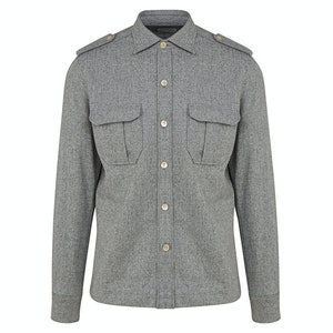 Light Grey Wool Flannel Over-Shirt