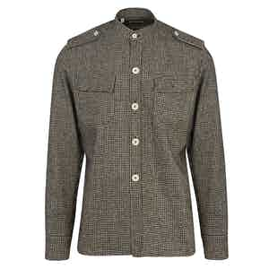 Brown Wool Flannel Houndstooth Over-Shirt