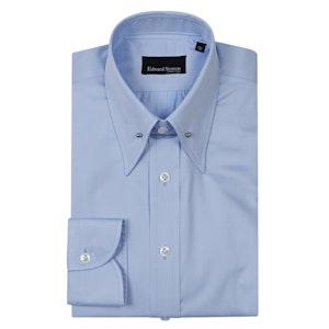 Powder Blue Cotton Pin-Collar Shirt with Button Cuffs