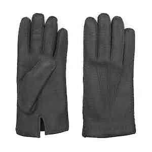 Cashmere-Lined Black Peccary Gloves Ciro