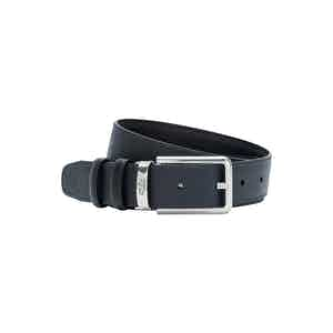 Black and Navy Italian Calf Leather Evoluzione Reversible Belt