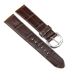 Brown Double Alligator Classic Watch Strap