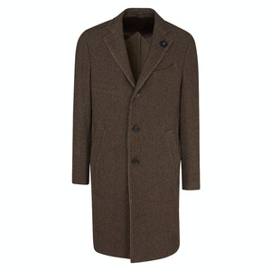 Brown Wool Single-Breasted Unlined Coat