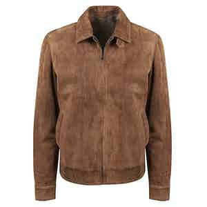 Brown Suede Zipped Blouson Jacket