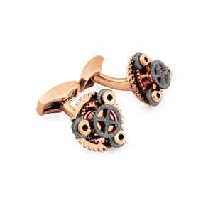 Rose Gold-Plated Brass Gear Rotondo Cufflink