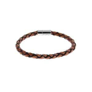 Brown Leather and Silver Pop Scoubidou Bracelet