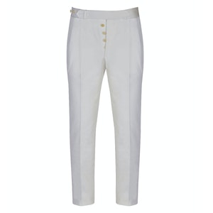 White Cotton Back-Buckle Pleated Trousers