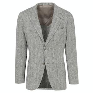 Grey Herringbone Wool, Cotton & Silk 'Weekend' Soft Jacket