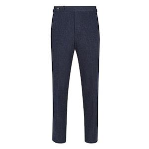 Navy Cotton & Cashmere Stretch Denim Trousers