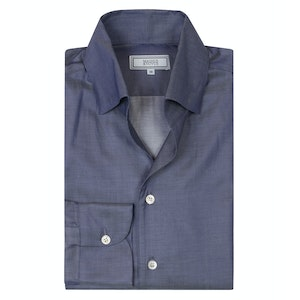 Navy Chambray Cotton 'Weekend Leisure' Shirt