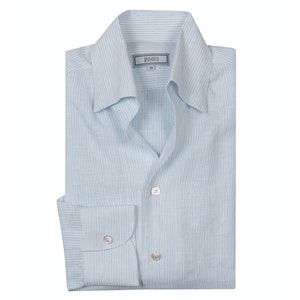 Sky Blue Stripe Linen 'Weekend Leisure' Shirt