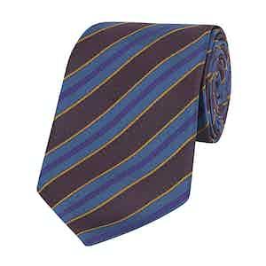 Maroon, Navy and Gold Silk Textured Stripe Tie