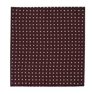 Burgundy and White Wool and Silk Herringbone Spot Handkerchief