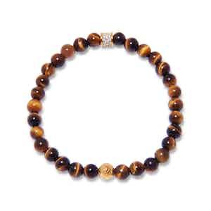 Brown Tiger Eye, Gold and CZ Diamond Beaded Bracelet