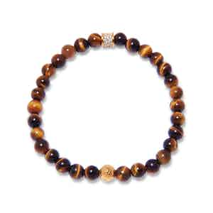 Brown Tiger Eye, Gold and CZ Diamond Beaded Bracelet