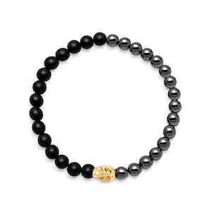 Black Onyx, Hematite and 18K Gold Beaded Bracelet