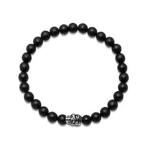 Black Onyx and Titanium-Finish Stainless Steel Beaded Bracelet