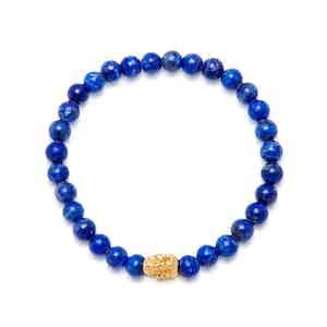 Blue Lapis and 18K Gold Beaded Bracelet