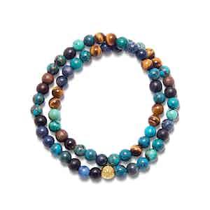 Bali Turquoise, Tiger Eye, Dumortierite and 18K Gold Beaded Wrap-Around Bracelet