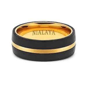 Black Carbon Fibre and 18K Gold-Finished Titanium Ring