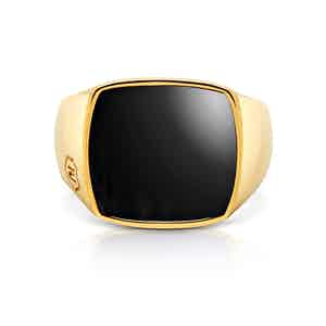 Onyx and 18K Gold-Finished Stainless Steel Cocktail Ring