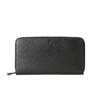 Eclipse Black Italian Calf Leather Evoluzione Zip-Around Wallet