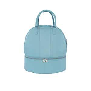 Ice Blue Leather Helmet Bag