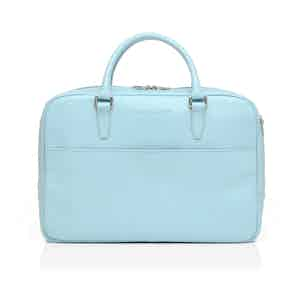 Ice Blue Leather Zipped Briefcase