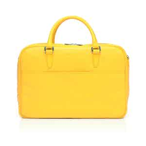 Yellow Leather Zipped Briefcase