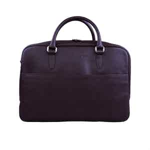 Brown Leather Zipped Briefcase