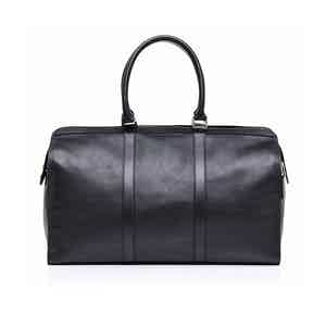 Navy Blue Leather City Holdall
