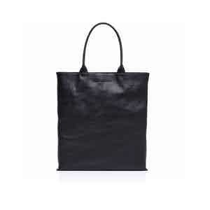 Navy Blue Leather Travel Tote