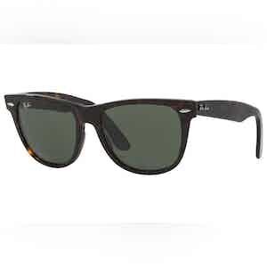Wayfarer 0RB2140-902 Dark Tortoiseshell and Green Lens Sunglasses