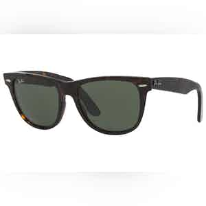 Wayfarer 0RB2140-902 Dark Tortoiseshell and Green Lens Sunglasses